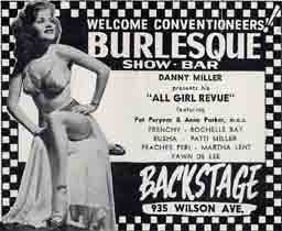"An ad for Backstage ""show bar"" from Sept. 6 1952 Welcome Chicago magazine."